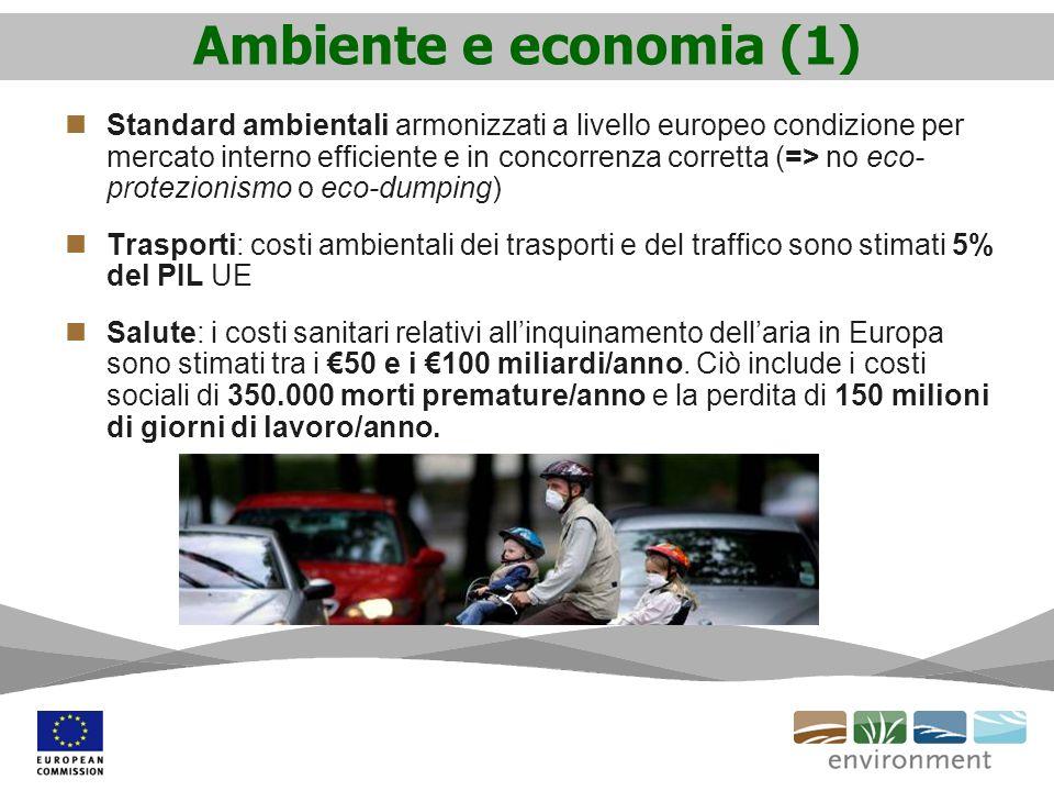 Ambiente e economia (1) Standard ambientali armonizzati a livello europeo condizione per mercato interno efficiente e in concorrenza corretta (=> no e