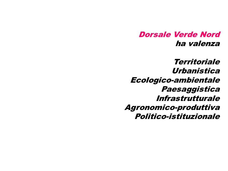 Dorsale Verde Nord ha valenza Territoriale Urbanistica Ecologico-ambientale Paesaggistica Infrastrutturale Agronomico-produttiva Politico-istituzionale