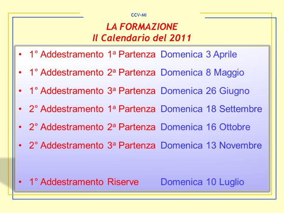 CCV-MI LA FORMAZIONE Il Calendario del 2011