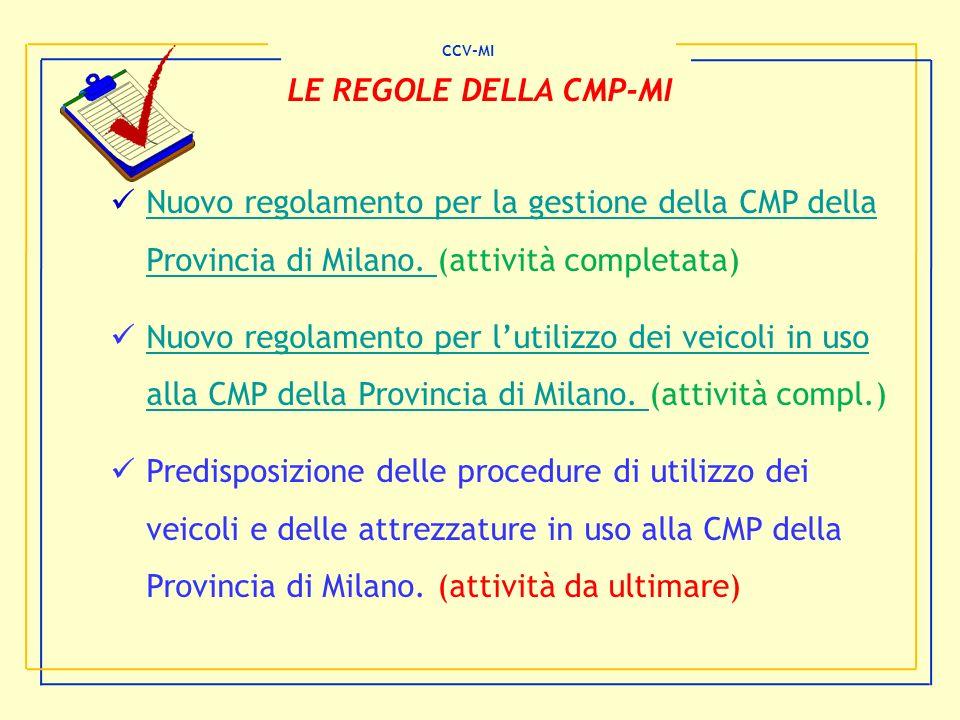 CCV-MI LE REGOLE DELLA CMP-MI Nuovo regolamento per la gestione della CMP della Provincia di Milano. (attività completata) Nuovo regolamento per la ge