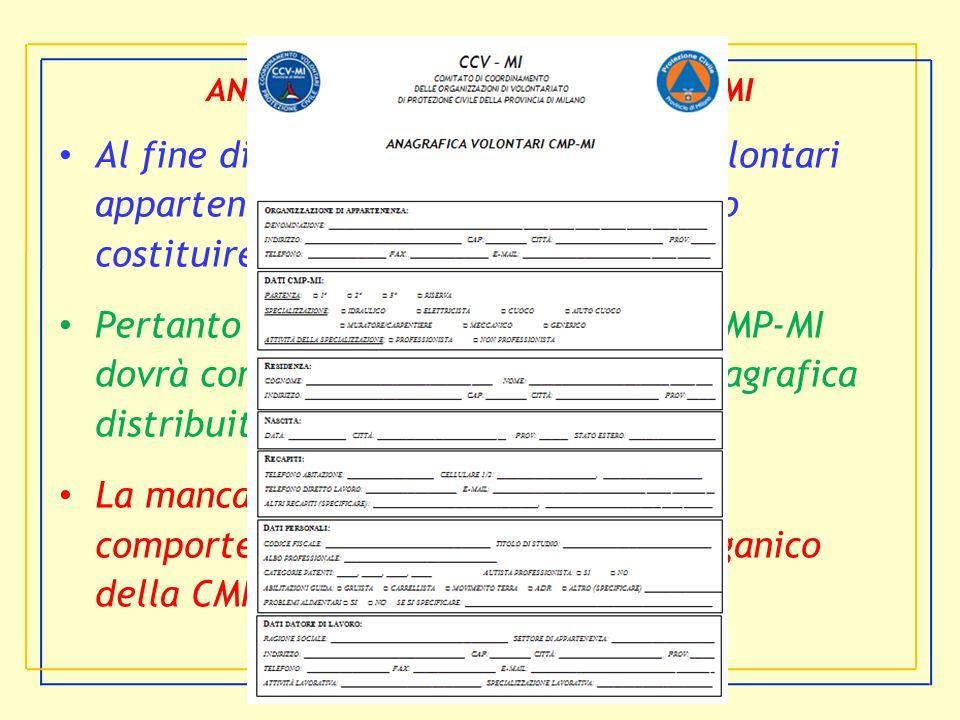 CCV-MI ANAGRAFICA DEI VOLONTARI CMP-MI Al fine di garantire la gestione dei volontari appartenenti alla CMP-MI è necessario costituire una anagrafica.