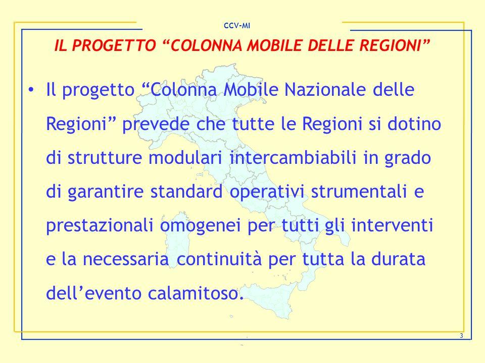 CCV-MI 3 IL PROGETTO COLONNA MOBILE DELLE REGIONI Il progetto Colonna Mobile Nazionale delle Regioni prevede che tutte le Regioni si dotino di struttu