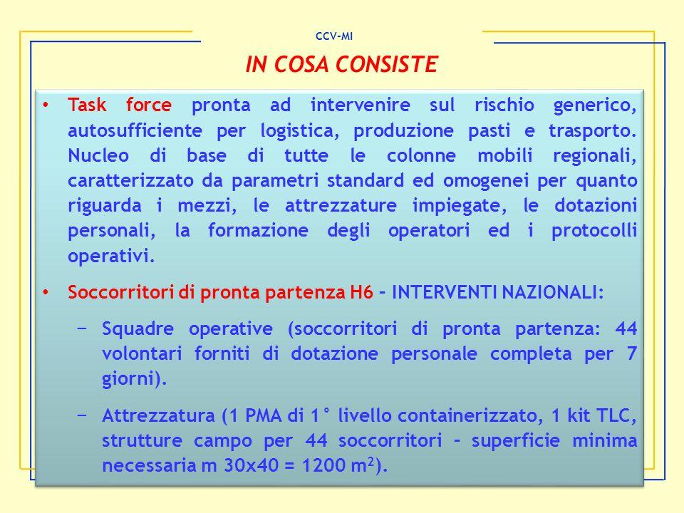 CCV-MI IN COSA CONSISTE Task force pronta ad intervenire sul rischio generico, autosufficiente per logistica, produzione pasti e trasporto. Nucleo di
