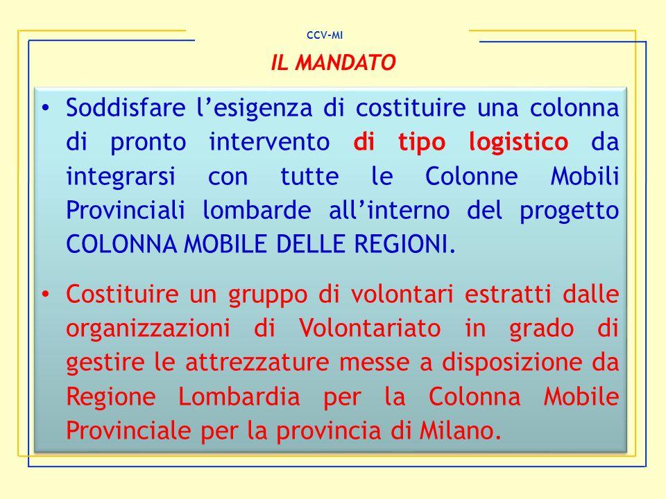 Soddisfare lesigenza di costituire una colonna di pronto intervento di tipo logistico da integrarsi con tutte le Colonne Mobili Provinciali lombarde a