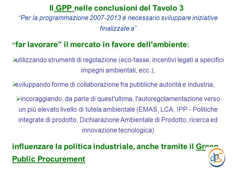Il GPP nelle conclusioni del Tavolo 3 Per la programmazione 2007-2013 è necessario sviluppare iniziative finalizzate a far lavorare il mercato in favo
