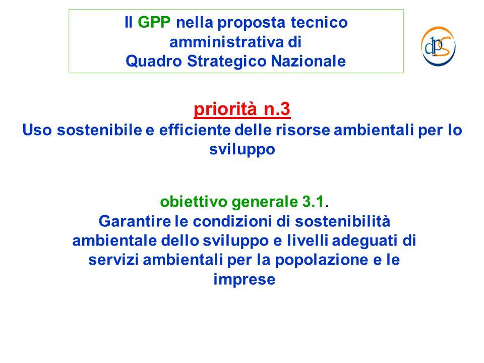 obiettivo generale 3.1. Garantire le condizioni di sostenibilità ambientale dello sviluppo e livelli adeguati di servizi ambientali per la popolazione