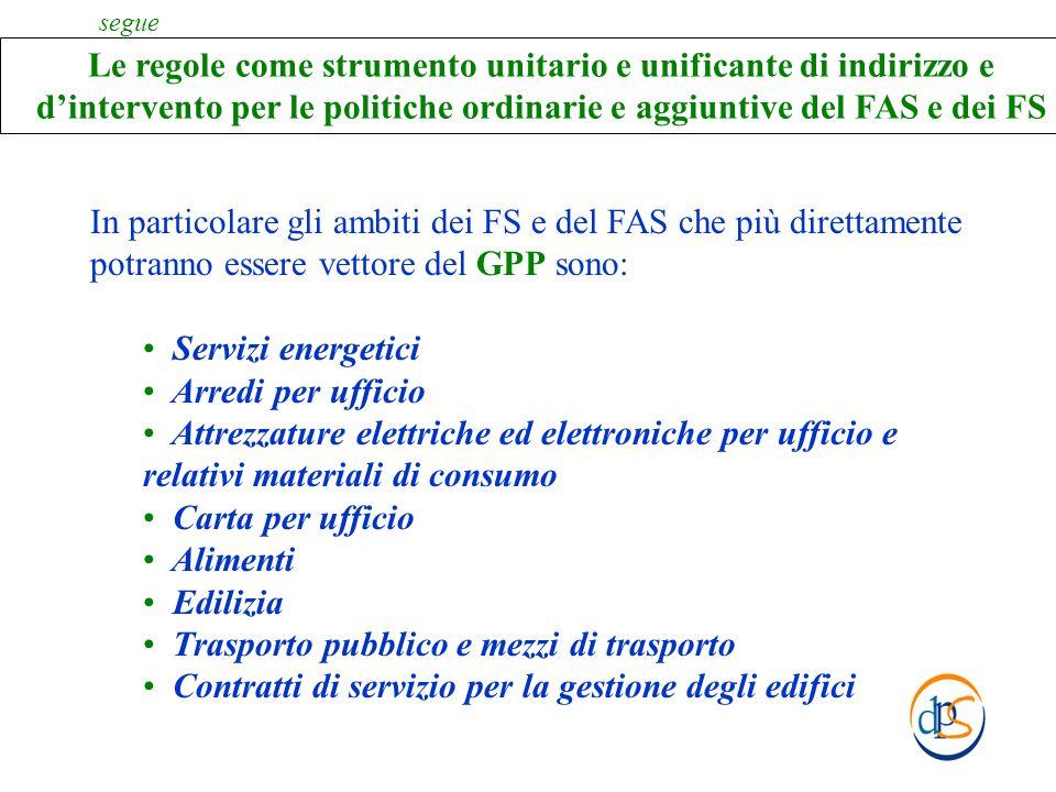 In particolare gli ambiti dei FS e del FAS che più direttamente potranno essere vettore del GPP sono: Servizi energetici Arredi per ufficio Attrezzatu