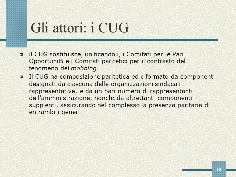 18 Gli attori: i CUG il CUG sostituisce, unificandoli, i Comitati per le Pari Opportunit à e i Comitati paritetici per il contrasto del fenomeno del m