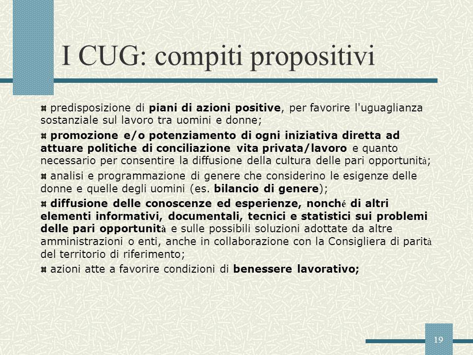 19 I CUG: compiti propositivi predisposizione di piani di azioni positive, per favorire l'uguaglianza sostanziale sul lavoro tra uomini e donne; promo