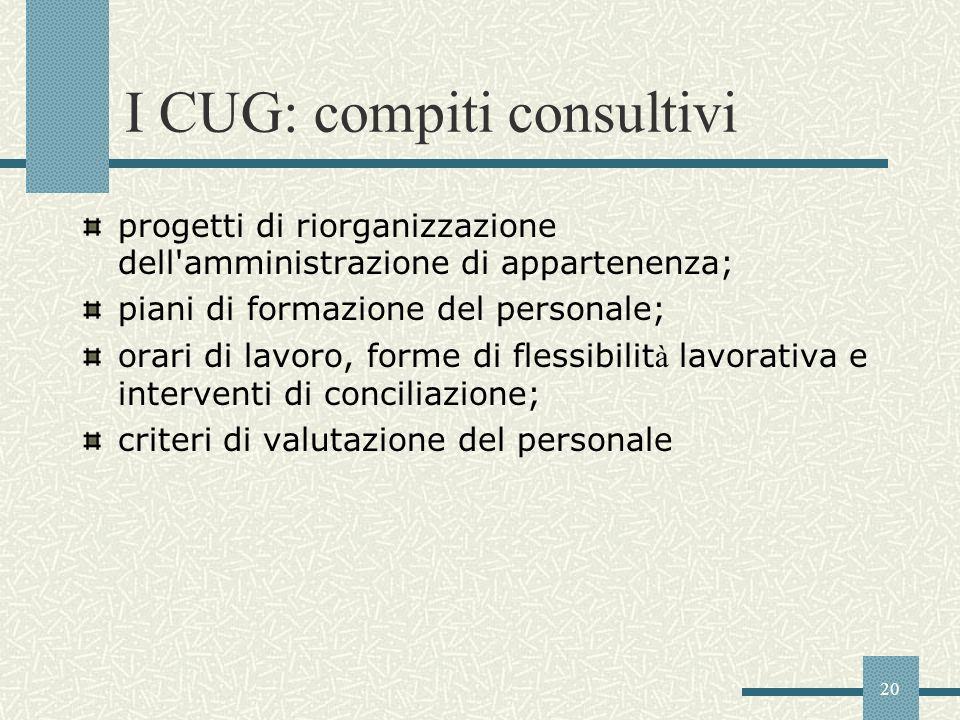 20 I CUG: compiti consultivi progetti di riorganizzazione dell'amministrazione di appartenenza; piani di formazione del personale; orari di lavoro, fo