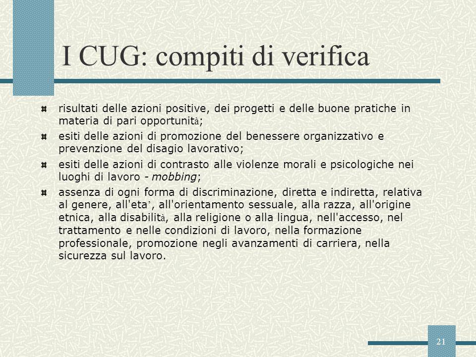 21 I CUG: compiti di verifica risultati delle azioni positive, dei progetti e delle buone pratiche in materia di pari opportunit à ; esiti delle azion