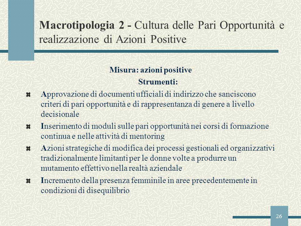 26 Macrotipologia 2 - Cultura delle Pari Opportunità e realizzazione di Azioni Positive Misura: azioni positive Strumenti: Approvazione di documenti u