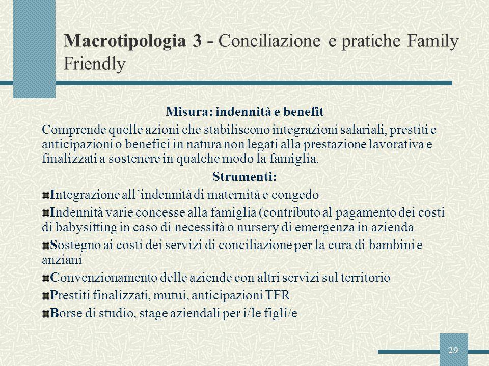 29 Macrotipologia 3 - Conciliazione e pratiche Family Friendly Misura: indennità e benefit Comprende quelle azioni che stabiliscono integrazioni salar