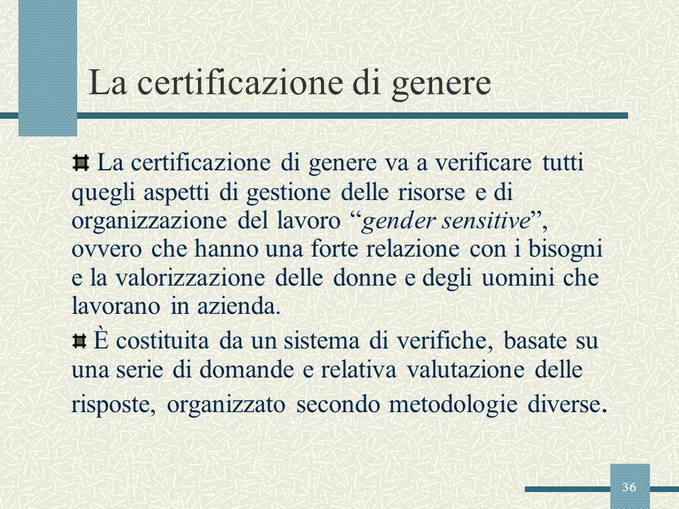 36 La certificazione di genere La certificazione di genere va a verificare tutti quegli aspetti di gestione delle risorse e di organizzazione del lavo