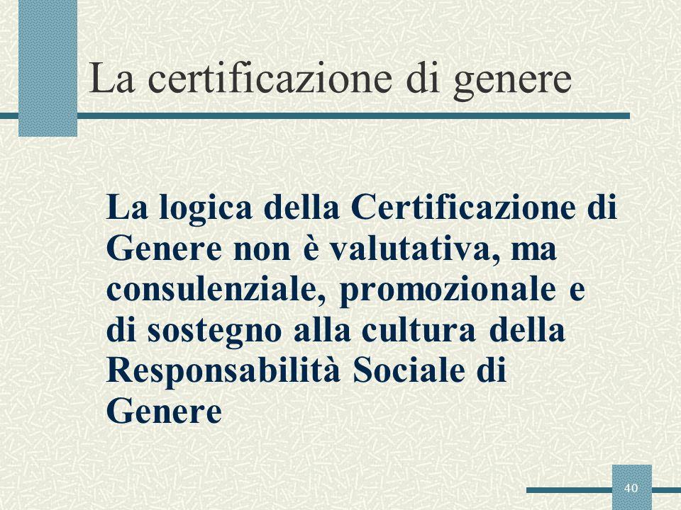 40 La certificazione di genere La logica della Certificazione di Genere non è valutativa, ma consulenziale, promozionale e di sostegno alla cultura de