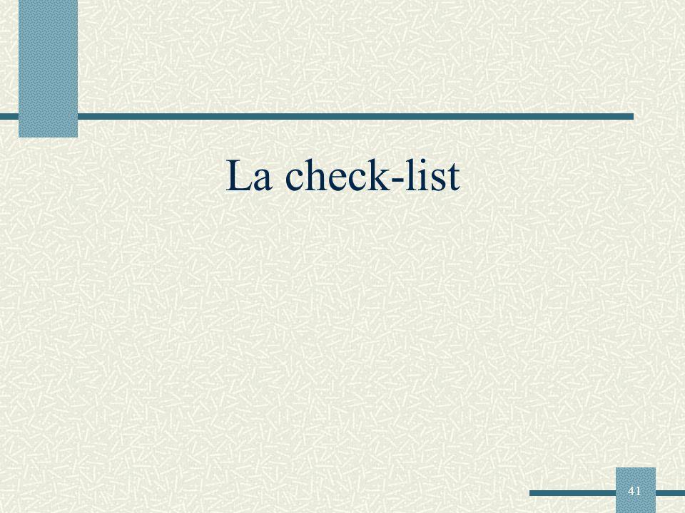 41 La check-list
