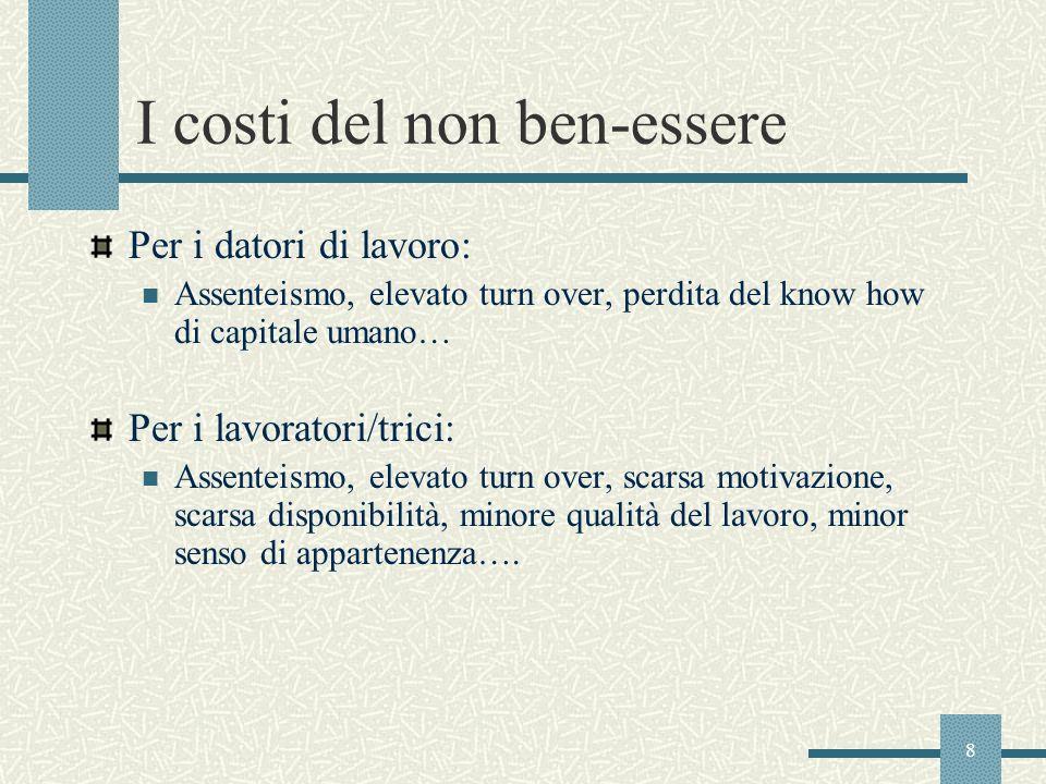 8 I costi del non ben-essere Per i datori di lavoro: Assenteismo, elevato turn over, perdita del know how di capitale umano… Per i lavoratori/trici: A