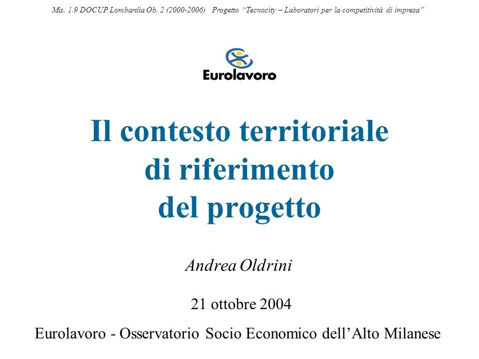 Il contesto territoriale di riferimento del progetto 21 ottobre 2004 Eurolavoro - Osservatorio Socio Economico dellAlto Milanese Andrea Oldrini Mis. 1