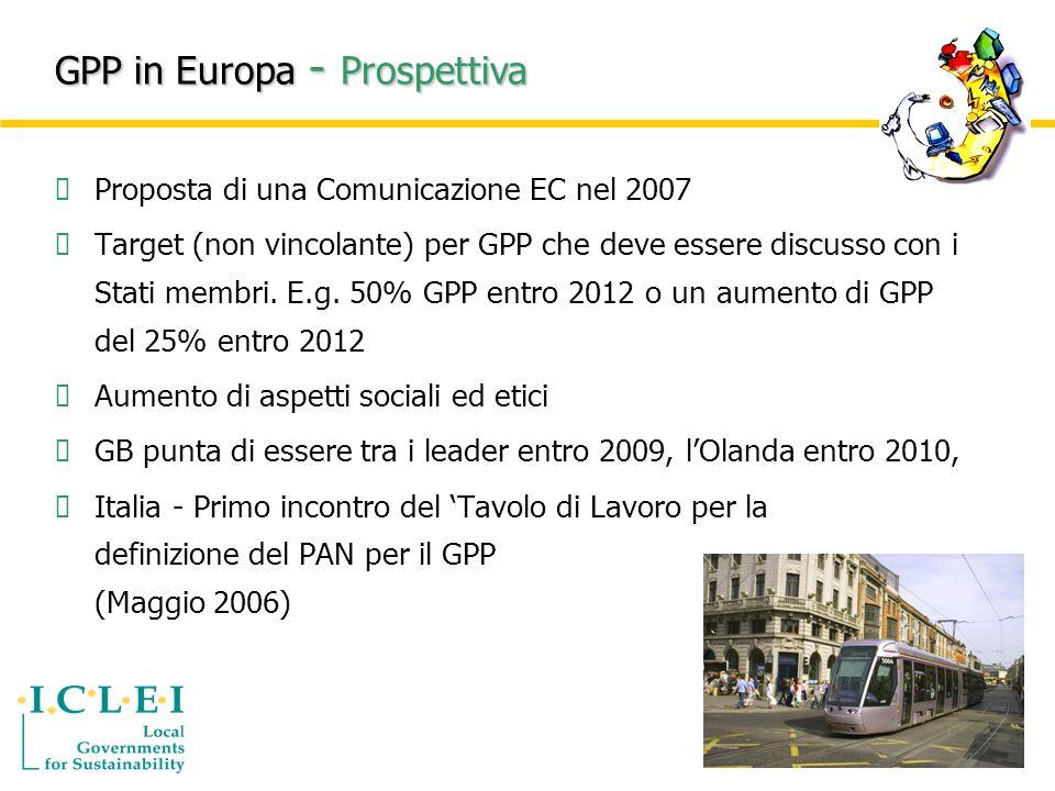 Proposta di una Comunicazione EC nel 2007 Target (non vincolante) per GPP che deve essere discusso con i Stati membri.