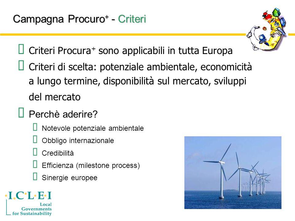 Campagna Procuro + - Criteri Criteri Procura + sono applicabili in tutta Europa Criteri di scelta: potenziale ambientale, economicità a lungo termine, disponibilità sul mercato, sviluppi del mercato Perchè aderire.