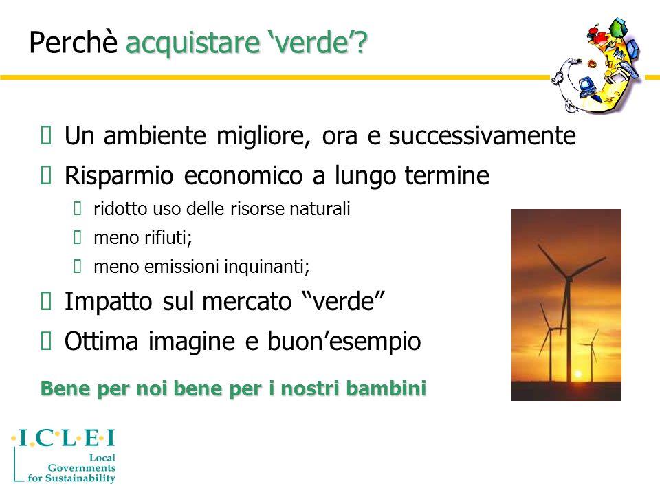 Acquisti Verdi.Perchè Acquisti Verdi. Notevole potenziale ambientale per alcuni prodotti.