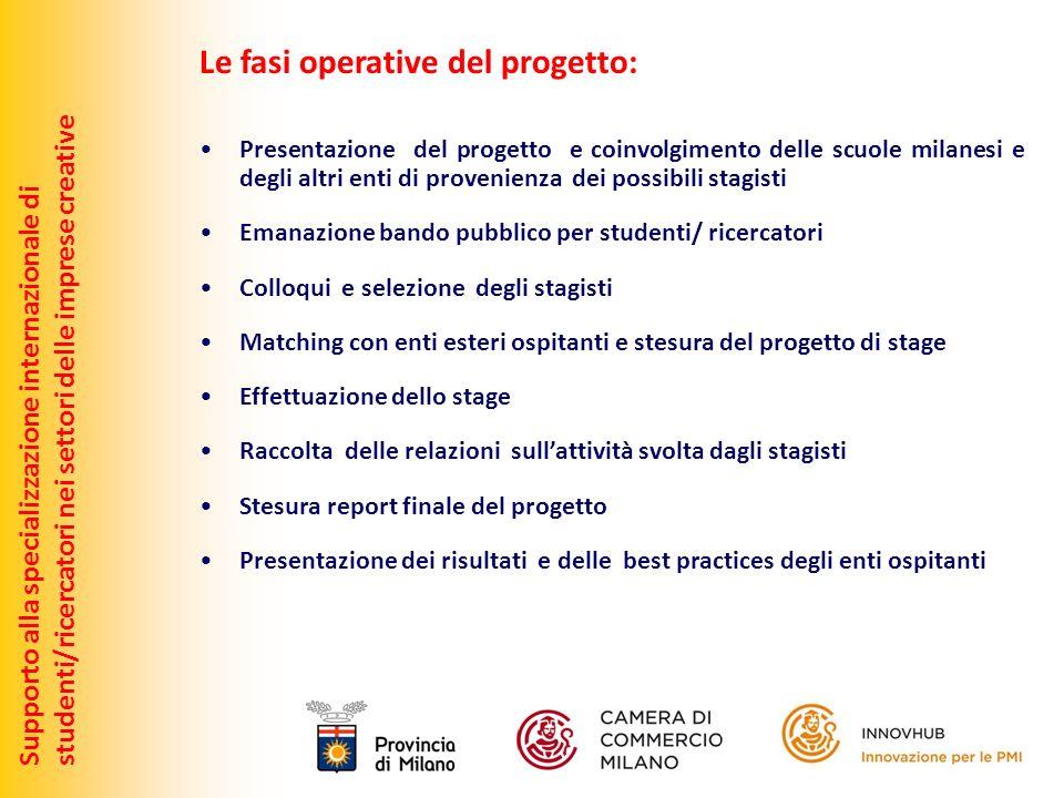 Supporto alla specializzazione internazionale distudenti/ricercatori nei settori delle imprese creative Le fasi operative del progetto: Presentazione