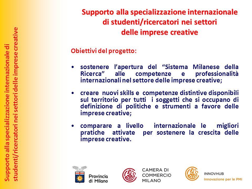 Obiettivi del progetto: sostenere lapertura del Sistema Milanese della Ricerca alle competenze e professionalità internazionali nel settore delle impr