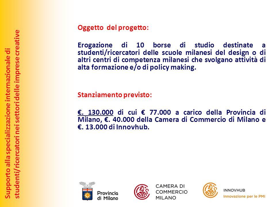 Oggetto del progetto: Erogazione di 10 borse di studio destinate a studenti/ricercatori delle scuole milanesi del design o di altri centri di competen