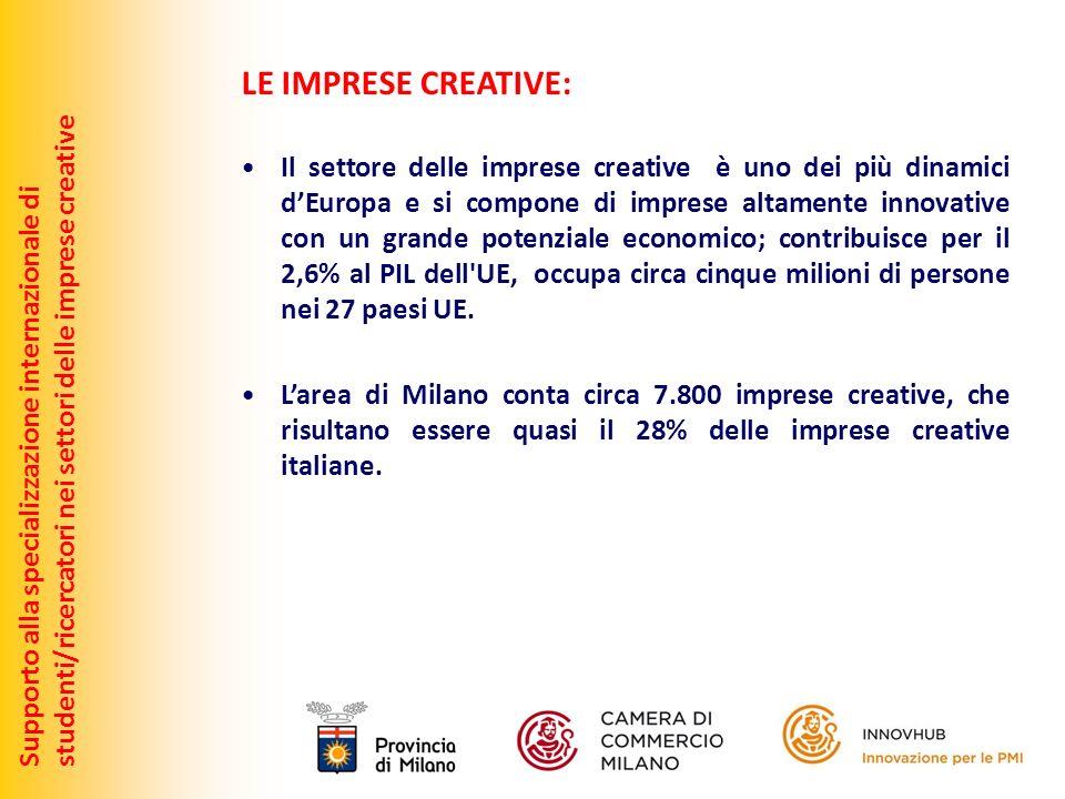 Supporto alla specializzazione internazionale distudenti/ricercatori nei settori delle imprese creative LE IMPRESE CREATIVE: Il settore delle imprese creative è uno dei più dinamici dEuropa e si compone di imprese altamente innovative con un grande potenziale economico; contribuisce per il 2,6% al PIL dell UE, occupa circa cinque milioni di persone nei 27 paesi UE.