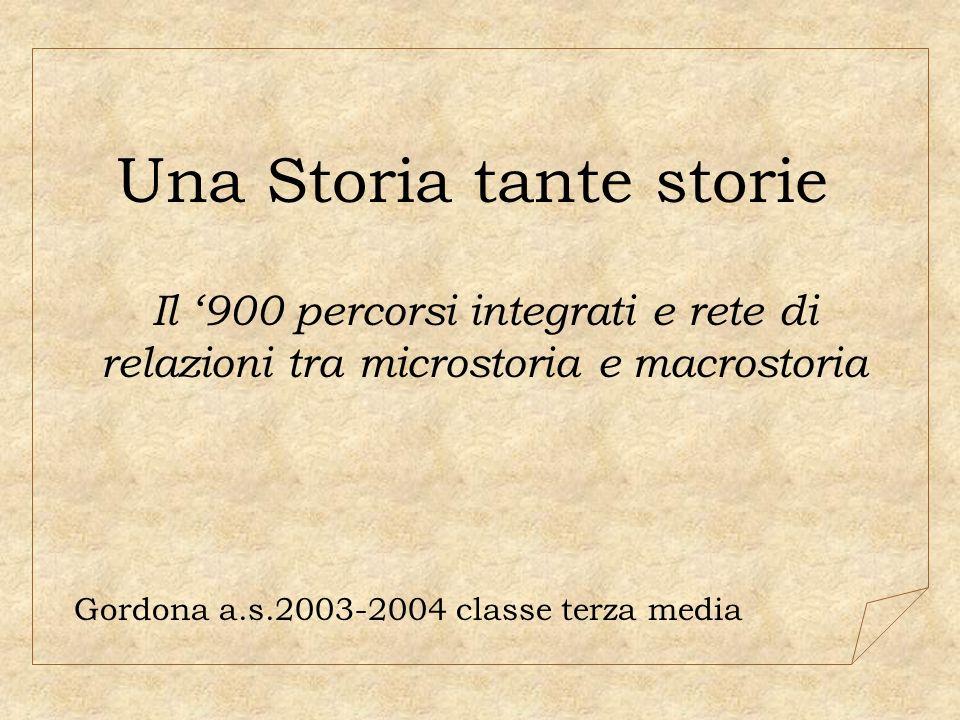 Una Storia tante storie Il 900 percorsi integrati e rete di relazioni tra microstoria e macrostoria Gordona a.s.2003-2004 classe terza media