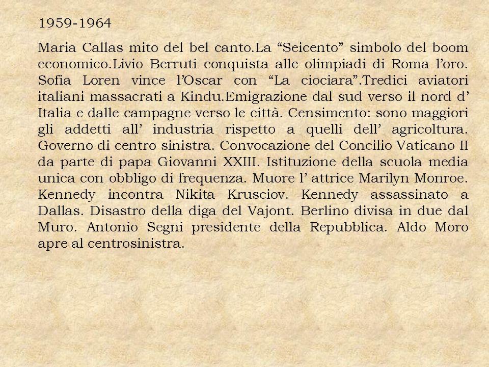 1959-1964 Maria Callas mito del bel canto.La Seicento simbolo del boom economico.Livio Berruti conquista alle olimpiadi di Roma loro. Sofia Loren vinc