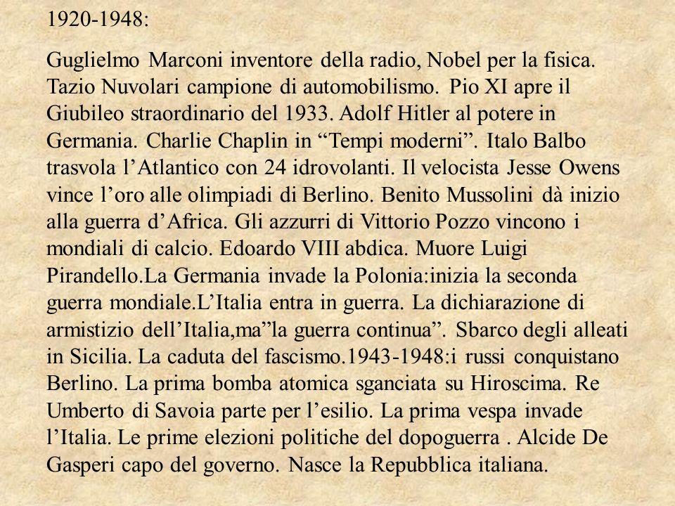 1920-1948: Guglielmo Marconi inventore della radio, Nobel per la fisica. Tazio Nuvolari campione di automobilismo. Pio XI apre il Giubileo straordinar
