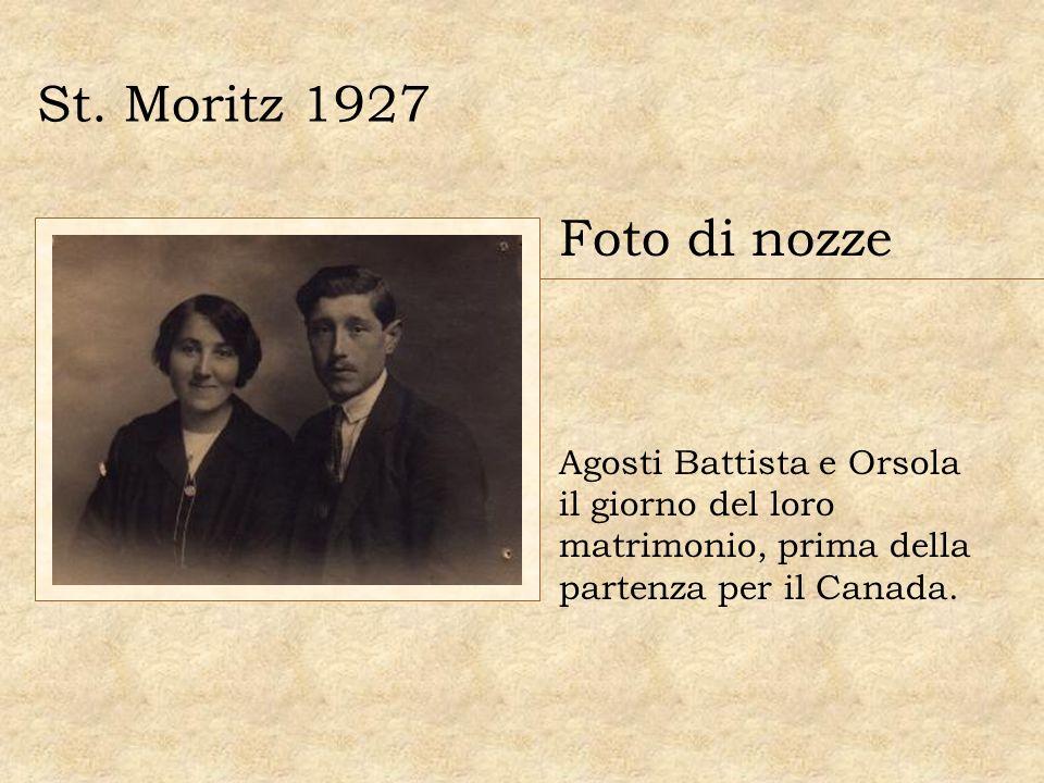 St. Moritz 1927 Foto di nozze Agosti Battista e Orsola il giorno del loro matrimonio, prima della partenza per il Canada.