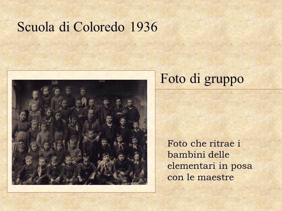 Scuola di Coloredo 1936 Foto di gruppo Foto che ritrae i bambini delle elementari in posa con le maestre
