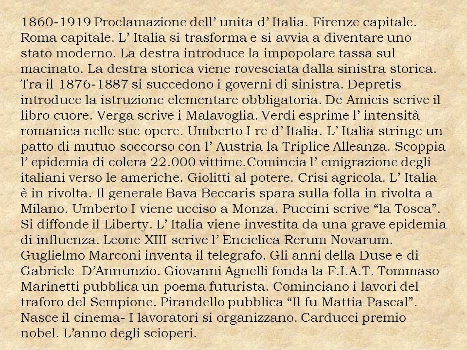 1860-1919 Proclamazione dell unita d Italia. Firenze capitale. Roma capitale. L Italia si trasforma e si avvia a diventare uno stato moderno. La destr