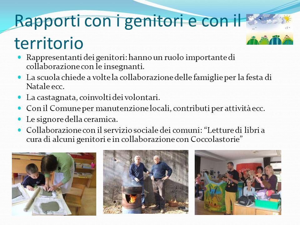 Rapporti con i genitori e con il territorio Rappresentanti dei genitori: hanno un ruolo importante di collaborazione con le insegnanti. La scuola chie