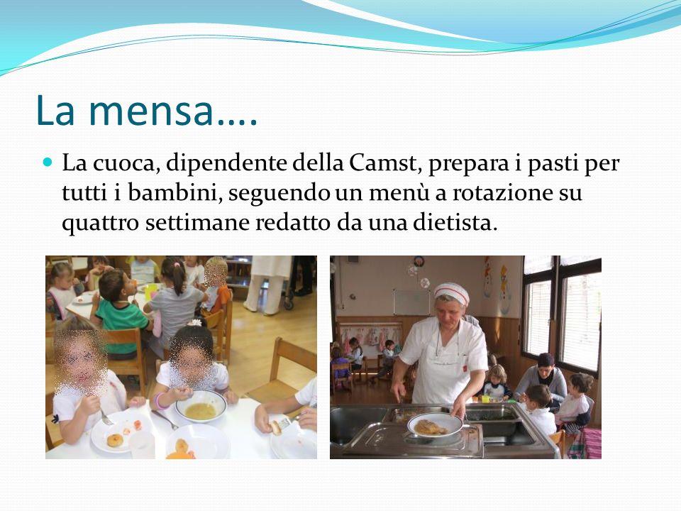 La mensa…. La cuoca, dipendente della Camst, prepara i pasti per tutti i bambini, seguendo un menù a rotazione su quattro settimane redatto da una die