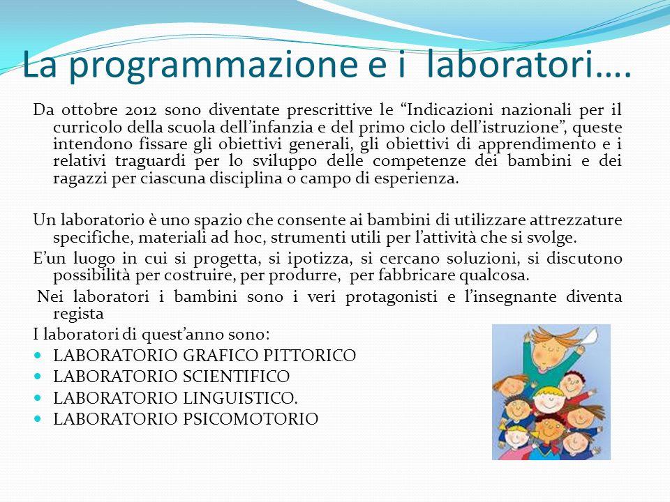La programmazione e i laboratori…. Da ottobre 2012 sono diventate prescrittive le Indicazioni nazionali per il curricolo della scuola dellinfanzia e d
