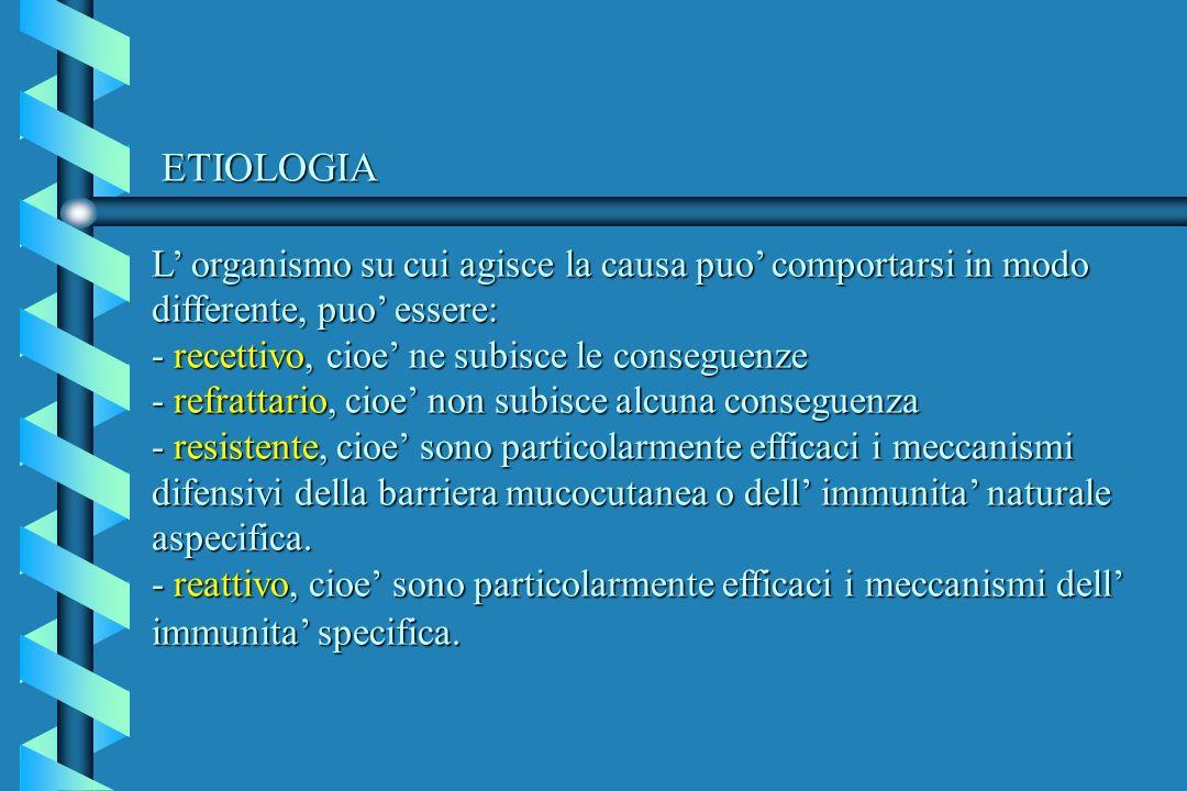ETIOLOGIA L organismo su cui agisce la causa puo comportarsi in modo differente, puo essere: - recettivo, cioe ne subisce le conseguenze - refrattario