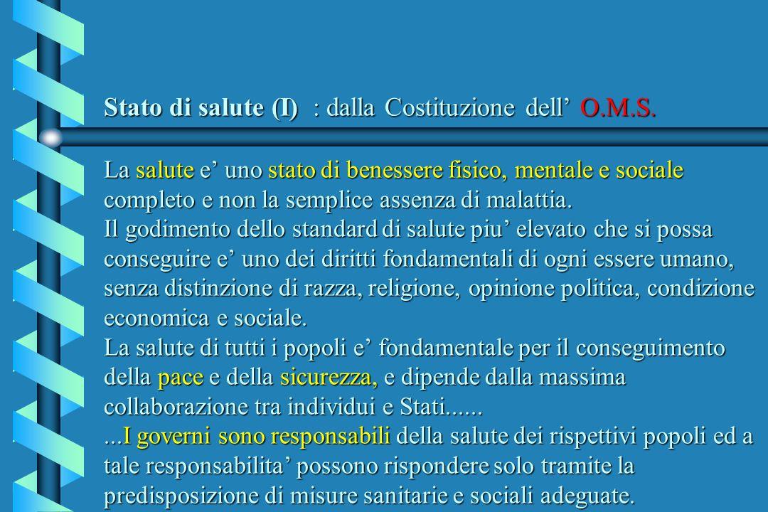 Stato di salute (I) : dalla Costituzione dell O.M.S. La salute e uno stato di benessere fisico, mentale e sociale completo e non la semplice assenza d