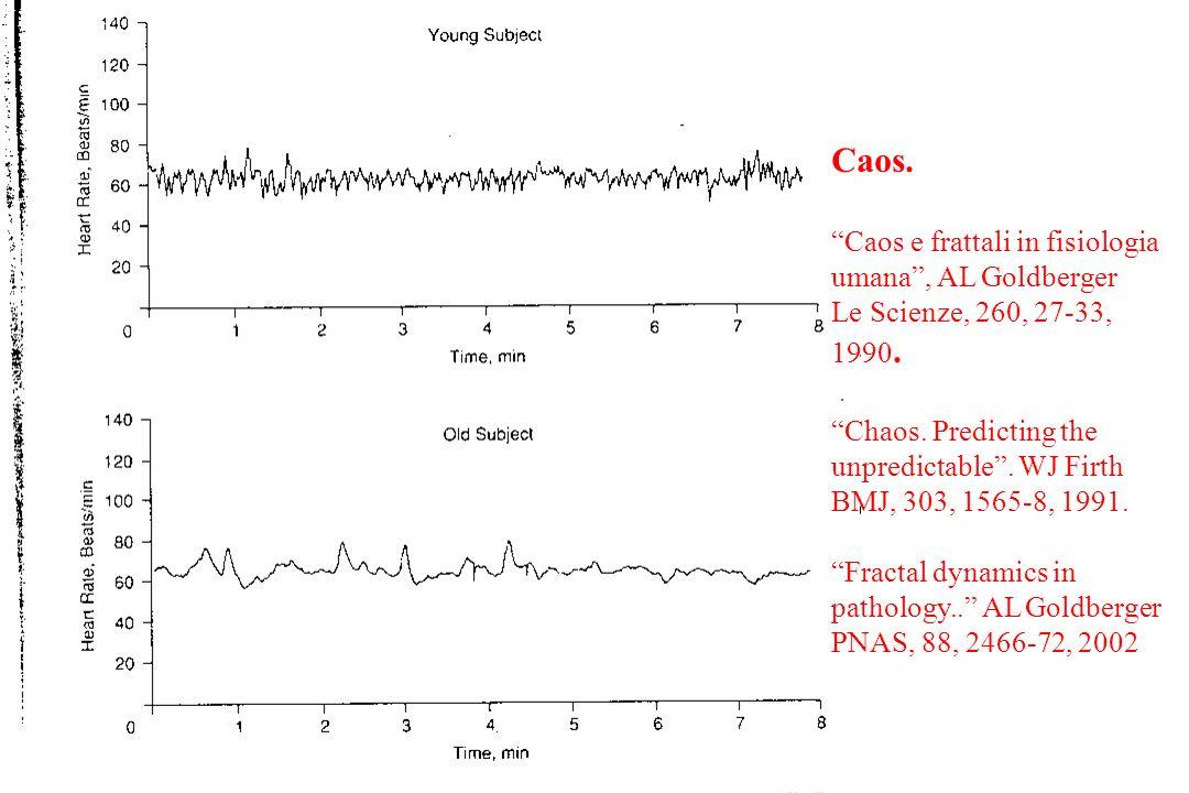 Caos. Caos e frattali in fisiologia umana, AL Goldberger Le Scienze, 260, 27-33, 1990. Chaos. Predicting the unpredictable. WJ Firth BMJ, 303, 1565-8,
