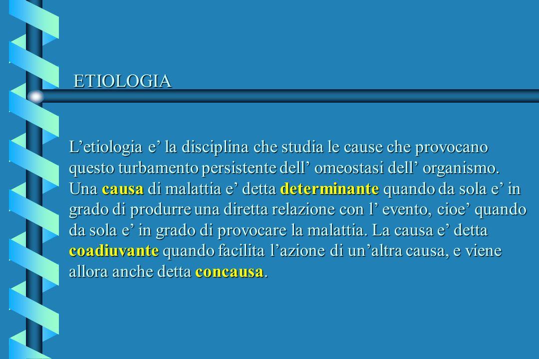 ETIOLOGIA Letiologia e la disciplina che studia le cause che provocano questo turbamento persistente dell omeostasi dell organismo. Una causa di malat
