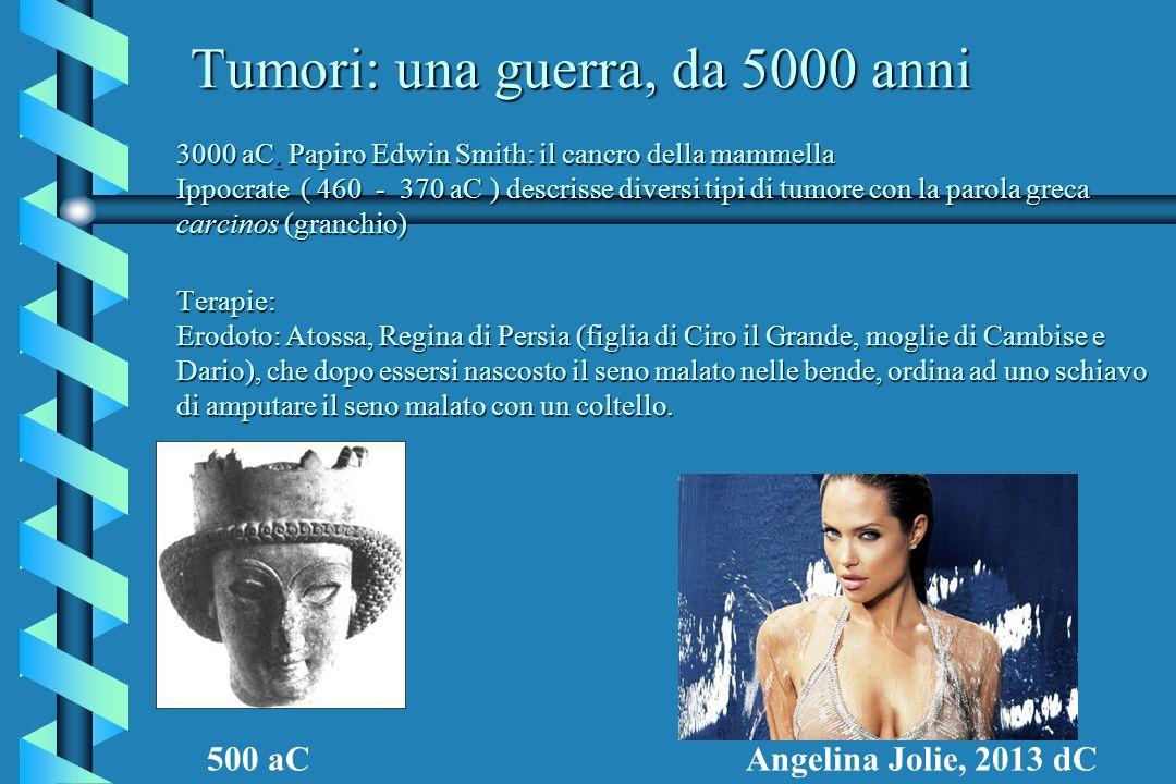 Italia oggi: cause di decesso/anno ~250 000 cardiovascolare, ~ 200 000 tumori : carcinoma del polmone 35 000, colon-retto 20 000, mammella 12.000, stomaco 10 000, collegati al sistema immunitario 14 000.