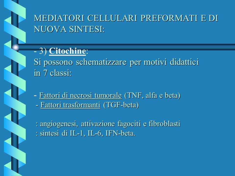 MEDIATORI CELLULARI PREFORMATI E DI NUOVA SINTESI: Si possono schematizzare per motivi didattici in 7 classi: Fattori di necrosi tumorale (TNF, alfa e