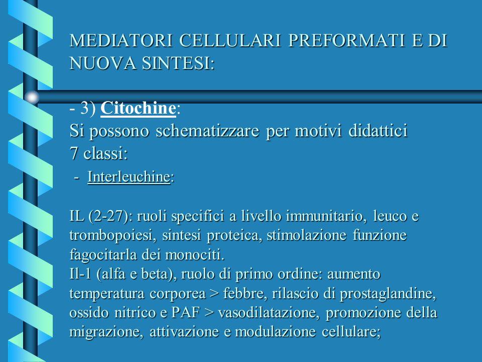 MEDIATORI CELLULARI PREFORMATI E DI NUOVA SINTESI: Si possono schematizzare per motivi didattici 7 classi: - Interleuchine: IL (2-27): ruoli specifici