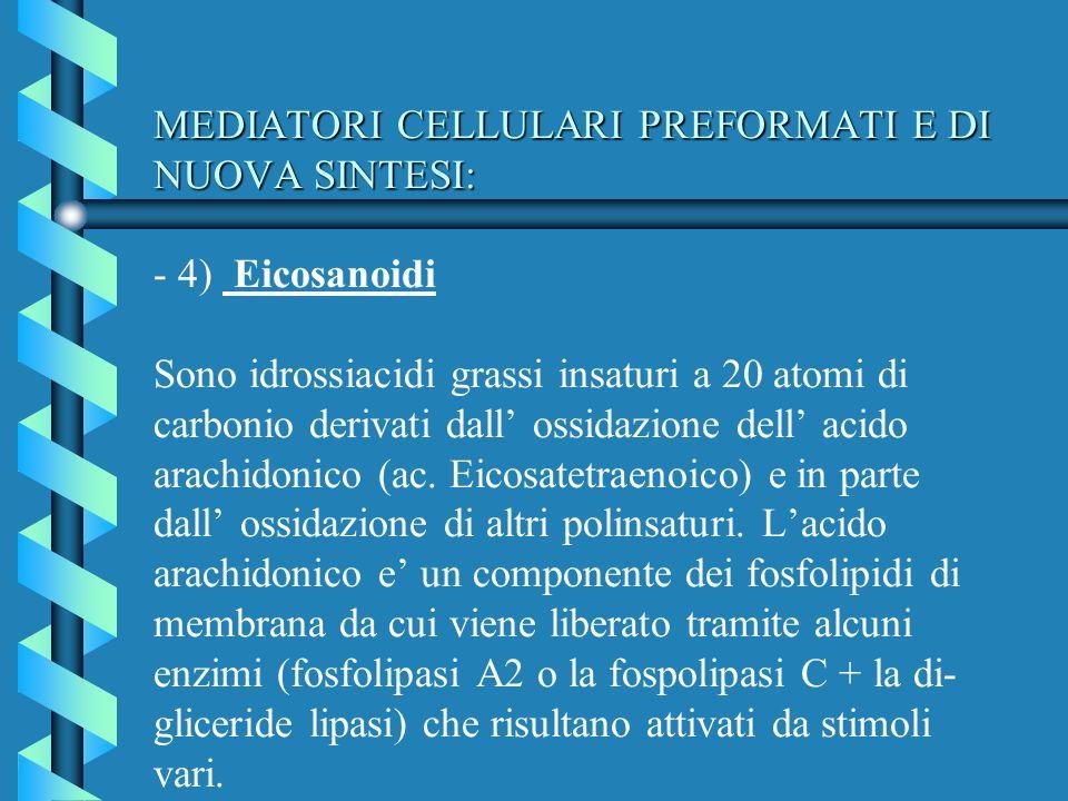 MEDIATORI CELLULARI PREFORMATI E DI NUOVA SINTESI: MEDIATORI CELLULARI PREFORMATI E DI NUOVA SINTESI: - 4) Eicosanoidi Sono idrossiacidi grassi insatu