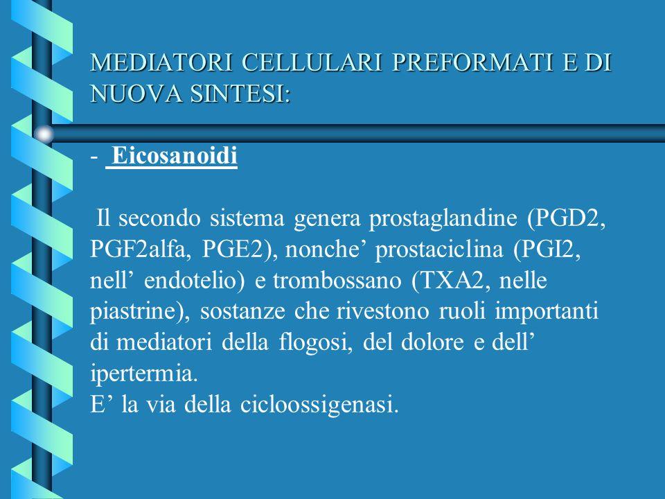 MEDIATORI CELLULARI PREFORMATI E DI NUOVA SINTESI: MEDIATORI CELLULARI PREFORMATI E DI NUOVA SINTESI: - Eicosanoidi Il secondo sistema genera prostagl