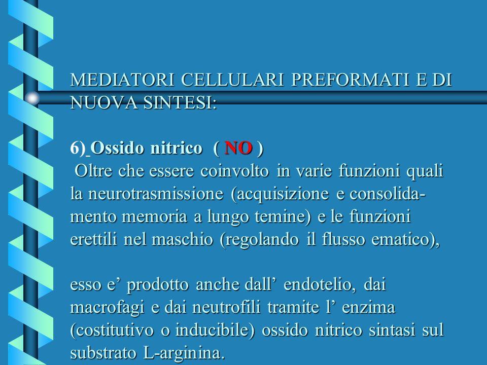 MEDIATORI CELLULARI PREFORMATI E DI NUOVA SINTESI: Ossido nitrico ( NO ) Oltre che essere coinvolto in varie funzioni quali la neurotrasmissione (acqu