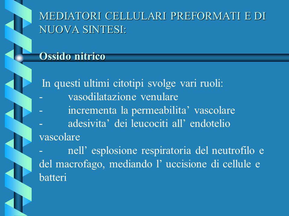 MEDIATORI CELLULARI PREFORMATI E DI NUOVA SINTESI: Ossido nitrico MEDIATORI CELLULARI PREFORMATI E DI NUOVA SINTESI: Ossido nitrico In questi ultimi c