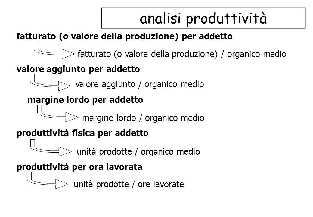 analisi produttività fatturato (o valore della produzione) / organico medio fatturato (o valore della produzione) per addetto produttività fisica per